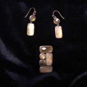 Lia Sophia Mother of pearl slide and earrings